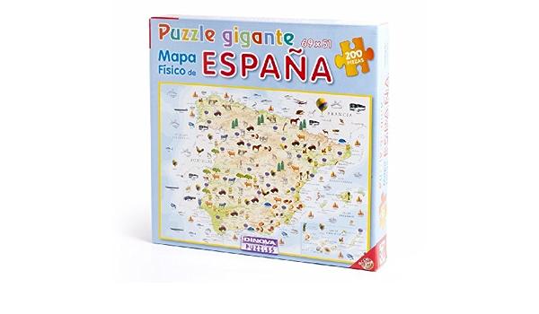 Dinova - Mapa físico de España, Puzzle de 200 Piezas (D0799009): Amazon.es: Juguetes y juegos