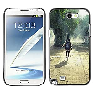 YiPhone /// Prima de resorte delgada de la cubierta del caso de Shell Armor - Nature Beautiful Forrest Green 1;; - Samsung Galaxy Note 2 N7100