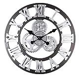 AjoliHome Retro Gear Clock Living Room Wall Clock Custom Creative Clock Wooden 3D Wall Clock (Silver, 16 inch)