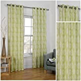 Vermont Lime Green Lightweight Eyelet/Ring Top Polyester Lined Readymade Curtain Pair 90x90in(228x228cm) Approximately By Hamilton McBride by Hamilton McBride