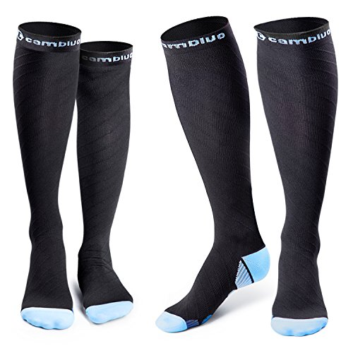 Cambivo Compression Socks Men and Women Performance Stockings (2 Pairs Blue, L/XL (Women 8-15.5 / Men 8-13))