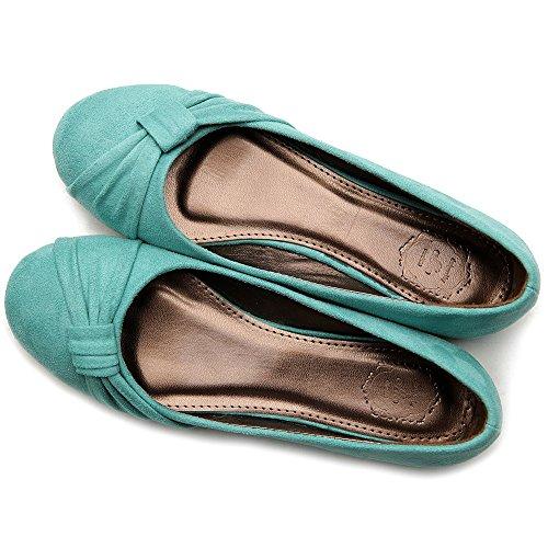 Ollio Damenschuh Ballet Faux Suede Flat Meeresgrün