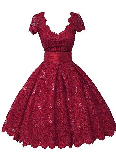 V Ausschnitt Kurzarm Linie Abendkleid Kurz Damen Ballkleider A Spitze Partykleid Burgund 8w40AFxRq