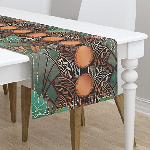 Art Deco Hops and Barley Copper Patina Bottlecaps Verdigris Art Deco Large by Ghouk - Cotton Sateen Table Runner 16 x 72 ()