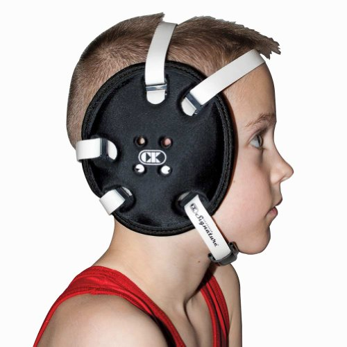 (Cliff Keen Youth Signature 4-Strap Stock Wrestling Headgear - Black)