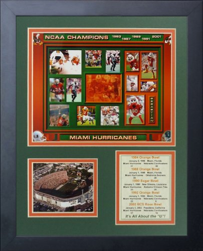 """Miami Hurricanes - Five Time Champs 11"""" x 14"""" Framed Photo Collage by Legends Never Die, Inc."""