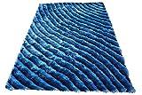 Shag Shaggy Fluffy Fuzzy Furry 3D Modern Contemporary Decorative Designer High Qulity Pile Shimmer Handmade Hand Woven Light Blue Dark Blue Two Tone Color Area Rug Carpet 5×7 Sale (SAD 274 Blue)