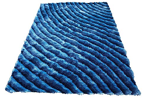 Shag Shaggy Fluffy Fuzzy Furry 3D Modern Contemporary Decorative Designer High Qulity Pile Shimmer Handmade Hand Woven Light Blue Dark Blue Two Tone Color Area Rug Carpet 5×7 Sale (SAD 274 Blue)