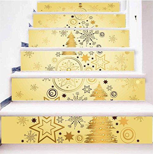 Escaleras de papel tapiz autoadhesivo caja de regalo de Navidad decoración del hogar 3D desmontable pegatinas de bricolaje...