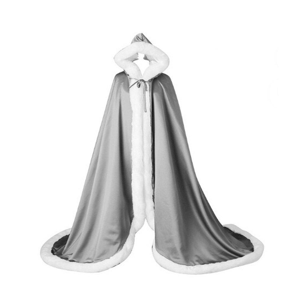 FOLOBE Faux Fur Bolero Bridal Cape Hooded Cloak Stole Floor Length Winter Fur Trim WP015-Burgundy