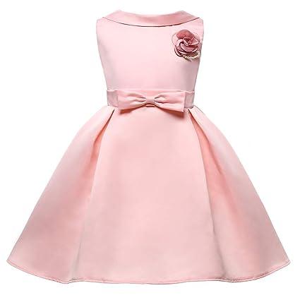 OOFAY Vestido para Las Niñas De Flores Rosa Cóctel Fiesta De La Boda De Navidad Vestido