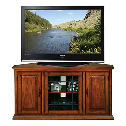 Burnished Oak Tv (Brown Corner TV Stand with 3-Storage Cabinet Doors Made From Glass and Wood, Burnished Oak Finish Contemporary Style Included Cross Scented Candle Tart)