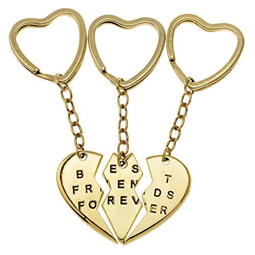 Price comparison product image ISHOW 3 Part Split Heart Engraved Best Friends Forever Keychain Key Ring for Girls