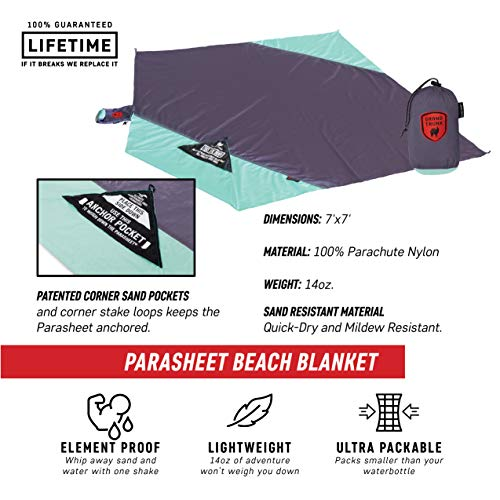 Grand Trunk Beach Blanket or Picnic Blanket with Patented Sand Anchor Pockets, Stake Loops and Attached Stuff Sack - Best Outdoor Blanket for Travel, Lunar - Grand Trunk Parachute Hammock