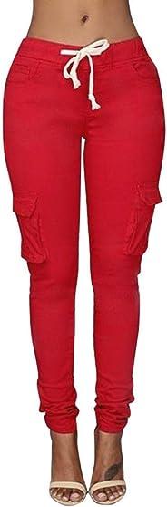 Sumen Women Skinny Pants High Waist Stretch Cargo Lounge Pants mit Multi-Bag