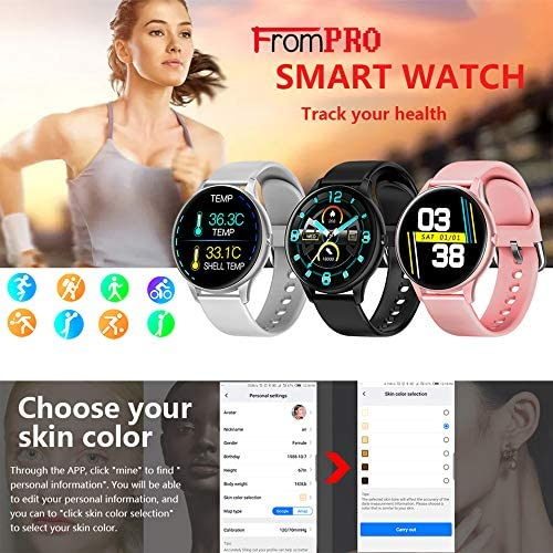 FromPRO Fitness Tracker, Smart Watch Step Trackers with Heart Rate Monitor,Circular Screen Color Touch Screen Activity Tracker wth Sleep Monitoring, Calorie Counter, Pedometer for Men Women