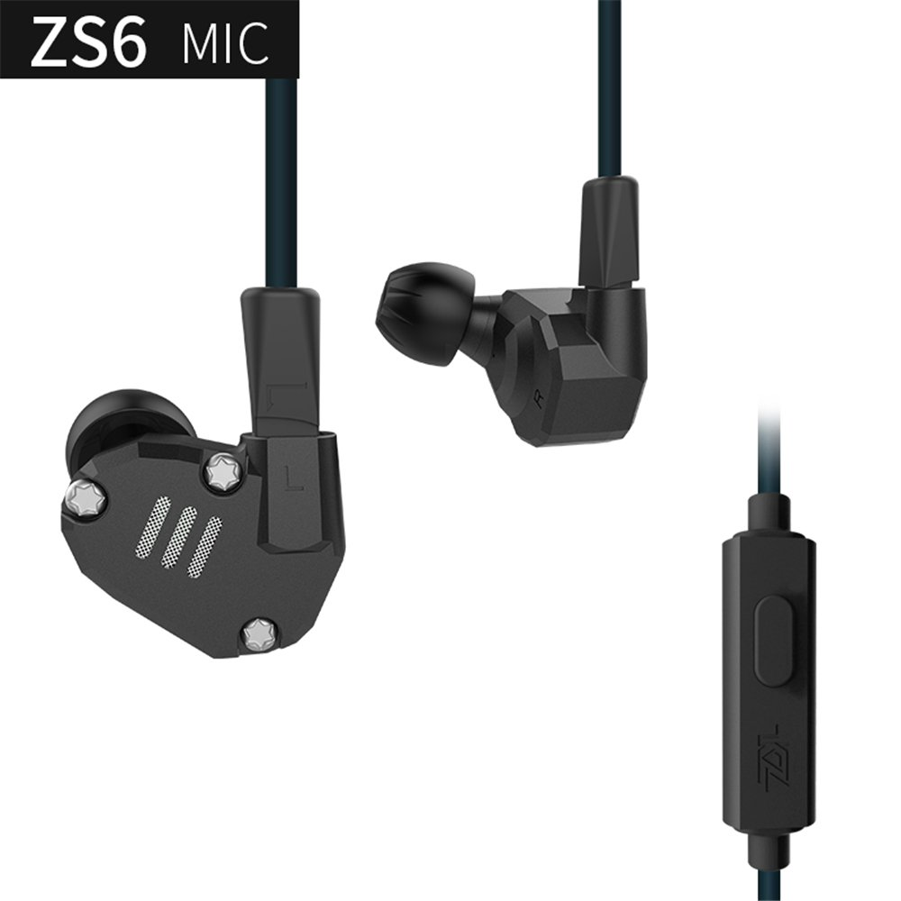 KZ Earphones Yinyoo kz ZS6 High Fidelity 2 Dynamic with 2 Balance Armature In ear Earbuds with 2 pin Replacement Cable Quality Sound Headphones Sport Headset with Microphone (Black with microphone)