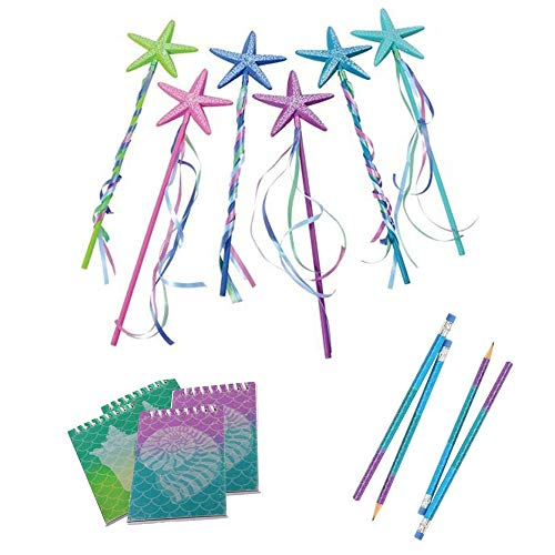 Colorful Under the Sea Mermaid Theme Design Wooden Pencils Notebooks and Starfish Wand Assorted Birthday Party Favor Prizes and Decoration Supply - 36 Piece Set]()
