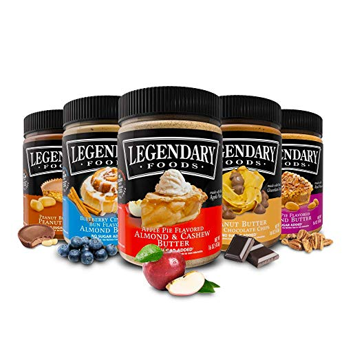 Legendary Foods Almond, Cashew & Peanut Butters | Keto Diet Friendly, Low Carb, No Sugar Added, Vegan | Variety Flavored (16oz Jar, Pack of 5)