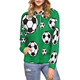 InterestPrint Women Hoodie Sweatshirt Soccer Balls Pullover Pocket L
