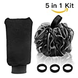Bath Loofah Sponge, Yblntek Natural 5 in 1 Kit Exfoliating Shower Loofah Mesh Pouf Bath Sponge with Double-Layered Exfoliating Gloves and 3 Black Hair Hands