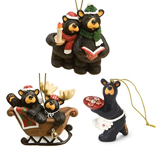 Bearfoots Black Bear 3 Christmas Ornaments Set, Caroling, Sleigh Ride, and Cookie Baker