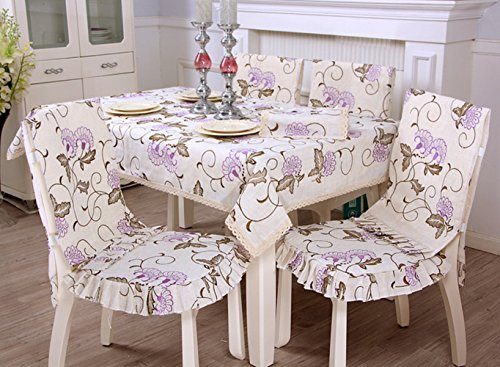 Linen lace purple floral embroidery tablecloths cover for home coffee table rectangular 55 x 78 inch
