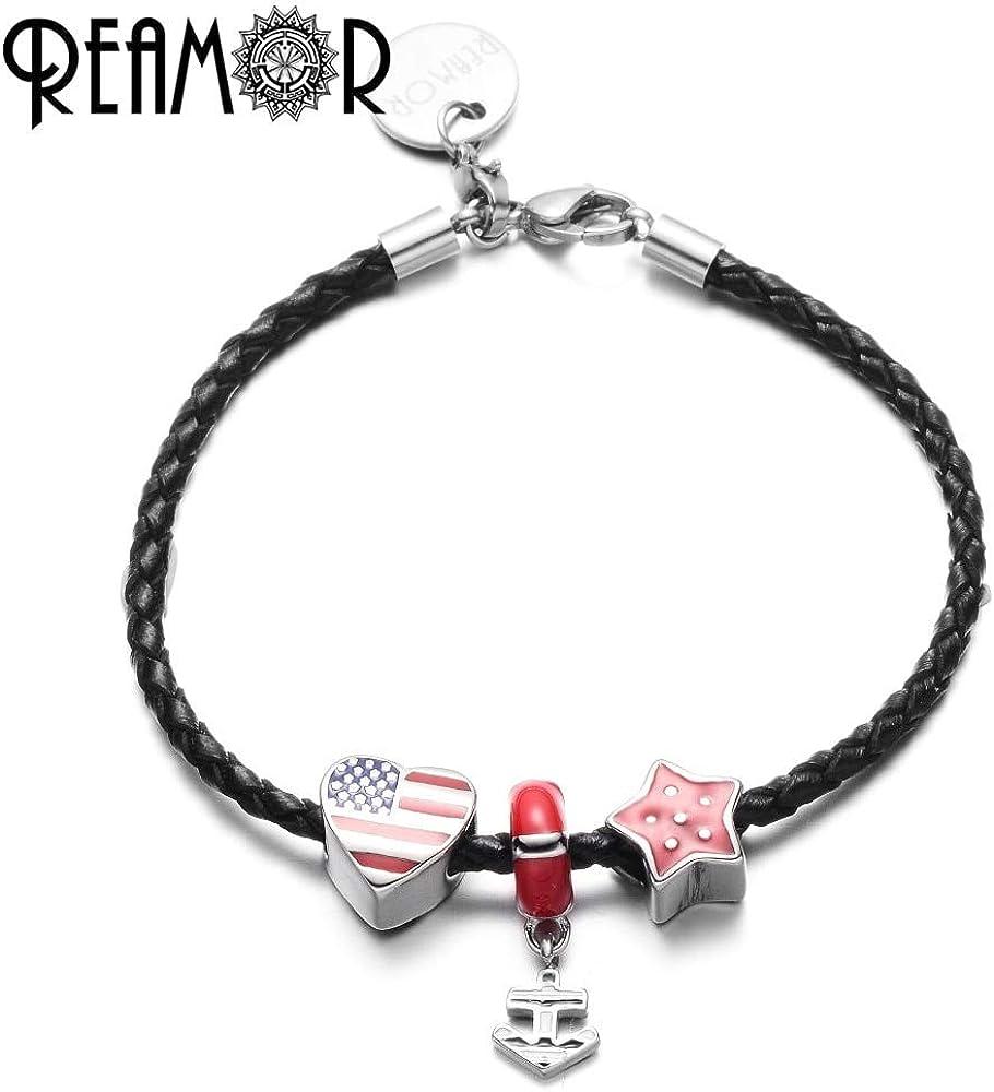 petbulk Enamel Red Star /& Heart American Flag Anchor Pendant Leather Bracelets 316l Stainless Steel Beads Charm Bracelet Love USA