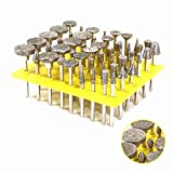 50Pcs 3MM Shank Diamond Grinding Head Glass Burr For Dremel Rotary Tools for Grinding Glass,Tiles,Marble,Jewelry or Rock on The Edge 46 Grit