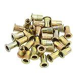 uxcell® 30 Pcs M5 Bronze Tone Carbon Steel Thread Flat Head Rivet Nut Insert Nutserts