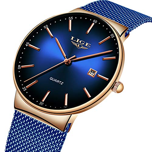 LIGE Mens Watches Stainless Steel Waterproof Fashion Simple Mesh Band Wrist Watch Gents Blue Dial Date Casual Dress Luxury Analogue Quartz Watches
