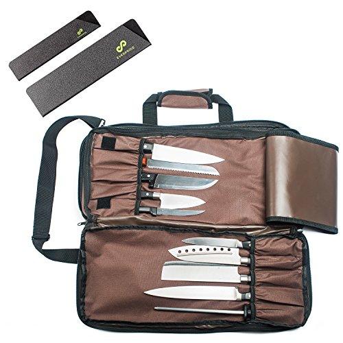 Professional Knife Bag for Chefs w/Shoulder Strap by EVERPRIDE - Premium Culinary Knife Case Includes 2 Knife Guards – Heavy Duty Chef Bag Stores 20 Knives PLUS 3 Zippers for Culinary Tools