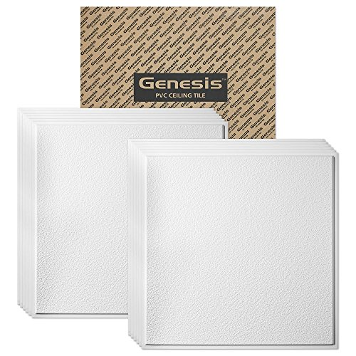 GENESIS - Stucco Pro Revealed Edge White 2x2 Ceiling Tiles 3 mm Thick (Carton of 12) – These 2'x2' Drop Ceiling Tiles are Water Proof - Fast and Easy Installation (2' x 2' Tile)