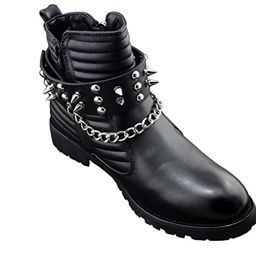 - Men Biker Punk Boots Bracelets Silver Chain Black Pair Leather Strap Spikes (with chain(one pair))