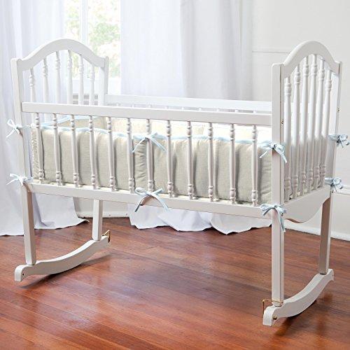 Carousel Designs Light Blue Linen Cradle Bumper