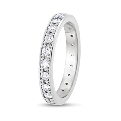 b433c8e04ed Image Unavailable. Image not available for. Color  1.07 CT Natural Diamond  3 mm Eternity Band in Solid 14k White Gold