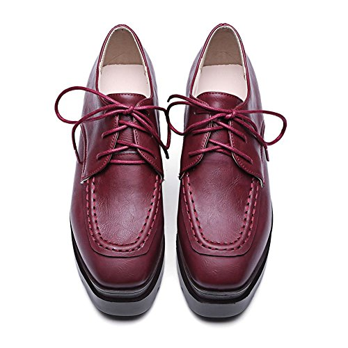 Fashion Leather Women's up Red Platform Embossed Wine Shoes Lace Decostain xqwtA5daw