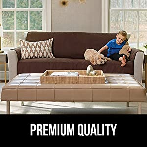 """Gorilla Grip Original Slip-Resistant Furniture Protector, Suede-Like Material, Slip Reducing Backing, Two 2"""" Thick Straps, and Two Seat Anchors (Sofa: Charcoal)"""