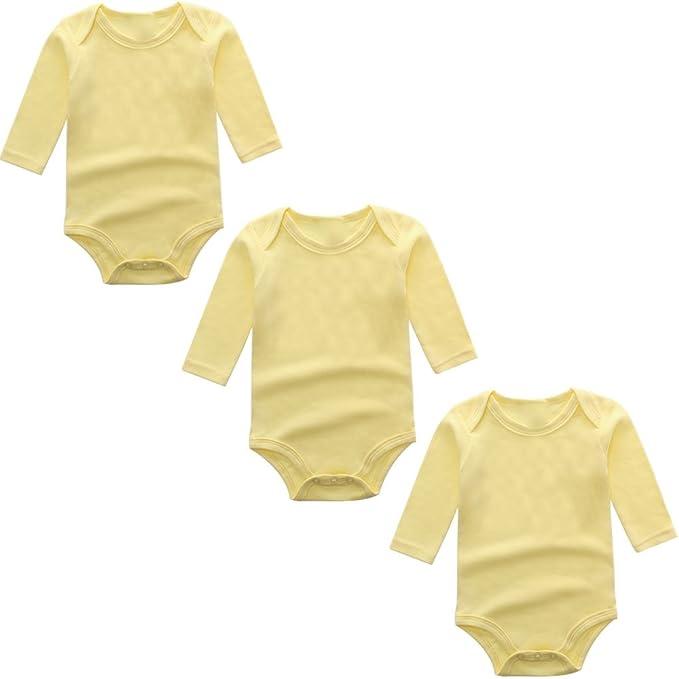 965836f6d BINIDUCKLING Body para Bebé Niña Ropa Interior Pack de 3 Amarillo 3 Meses