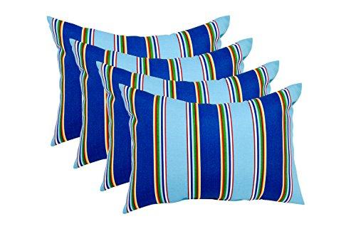 Regatta Four Light (Set of 4 Indoor / Outdoor Decorative Accent Lumbar / Rectangle Pillows - Bonfire Regatta - Teal, Light Blue, Dark Blue, Red, Yellow, Green)