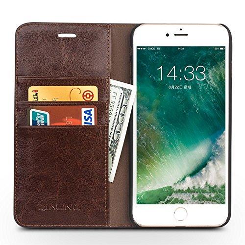QIALINO Genuine Leather Wallet Crazy Horse Grain Tasche Hüllen Schutzhülle - Case für iPhone 7 4.7 inch - Brown