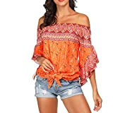 Lazzboy Top Women Ethnic Boho Off Shoulder Flare Short Sleeve Shirt Size 8-12 Ladies Beach Sunscreen Knoted Blouse(L(12),Orange)