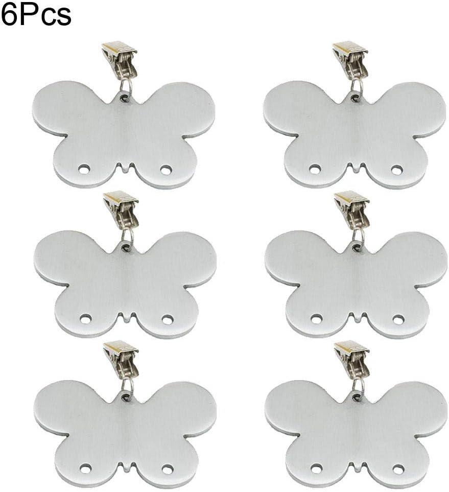 EQLEF Poids Nappe Poids de la Nappe en Acier Inoxydable avec Pinces pour Pique-Nique de f/ête de Mariage de Cuisine de Maison int/érieure ext/érieure Forme de Papillon 8 pi/èces
