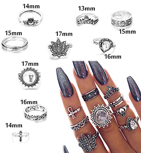 FIBO STEEL 42-63 Pcs Vintage Knuckle Rings for Women Girls Stackable Midi Finger Ring Set (A1: 42 Pcs a Set) by FIBO STEEL (Image #4)