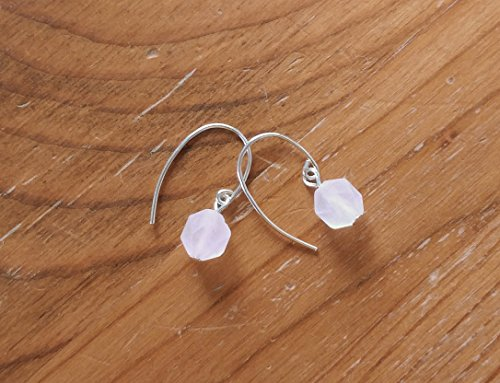 Rose Quartz Earrings - Pale Pink Frosted Rose Cut Crystal Earrings with Solid Sterling Silver 925 ear wires - Modern Minimal Design ()