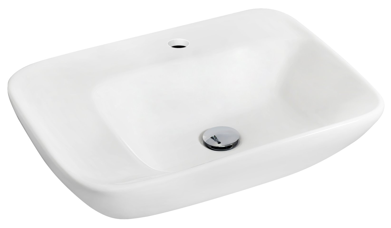 American Imaginations Rectangle Shape Vessel, Comes with an Enamel Glaze Finish in White Color and Designed for a Single Hole Faucet
