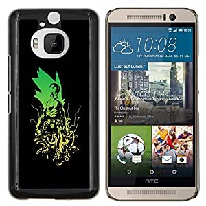 - ART CARTOON SUPERHERO COMIC MONSTER GREEN VILLAIN - Caja del telšŠfono delgado Guardia Armor- For HTC One M9+ / M9 PLUS Devil Case