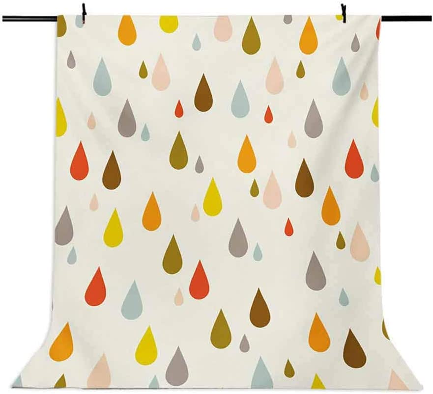 Retro Style Colorful Big and Small Water Drops Rain Inspired Lovely Cute Pattern Background for Photography Kids Adult Photo Booth Video Shoot Vinyl Studio Props 10x12 FT Photography Backdrop
