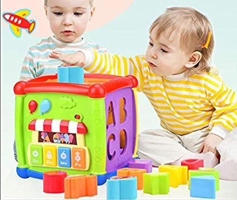 GoAppuGo Baby Piano Musical Toy With 4 Keys And Educational Shapes Sorter