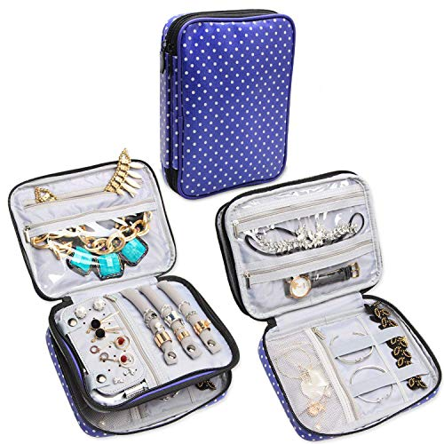 Teamoy Double Layer Jewelry Case, Travel Jewelry Case Bag for Womens Earrings, Rings, Necklaces, Chains and Other Accessories, Purple Dots